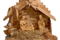 Geburt Christi-Szene getrennt auf Weiß lizenzfreie stockbilder