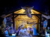 Geburt Christi Szene, Jesus Christus, Mary und Josef Stockfotografie