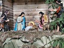 Geburt Christi Szene, Jesus Christus, Mary und Josef Lizenzfreie Stockfotos