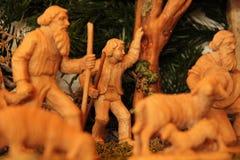 Geburt Christi Szene, Jesus Christus, Mary und Josef Stockfoto
