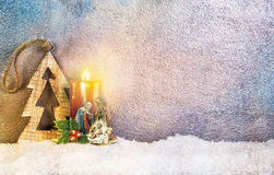 Geburt Christi unter Schnee Stockbild
