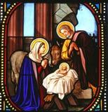 Geburt Christiszene, Buntglas, Kirche von Str lizenzfreie stockfotos