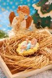 Geburt Christiszene mit Schätzchen Jesus und Engel Stockfoto
