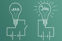Geburt von Ideen und von Entdeckungen Stockbild