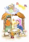 Geburt von Jesus-Kind lizenzfreie abbildung