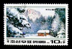 Geburtshaus von Kim Jong II, 50. Geburtstagsjahrestag: Paektu MO Stockfotografie