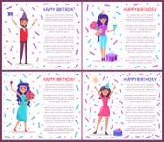 Geburtstag die Plakat-Frauen grüßend, die Bday feiern stock abbildung