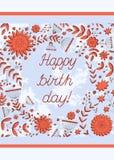 Geburtstag glückliches neues Jahr 2007 Alles Gute zum Geburtstag Geburtstagsillustration stock abbildung