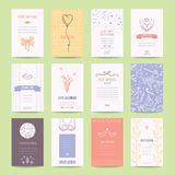 Geburtstag, Jahrestag, Verpflichtung, Hochzeitsfesteinladungen, Grußkarten, Flieger Künstlerische Schablonensammlung stock abbildung