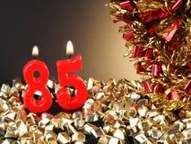Geburtstag-Jahrestagskerze Nr zeigend 85 Lizenzfreie Stockfotografie