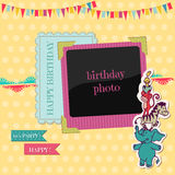 Geburtstag-Karte mit Foto-Feld Stockfoto