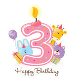 Geburtstag-Kerze und Tiere getrennt lizenzfreie abbildung