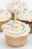 Geburtstag-kleine Kuchen - gelbe Kerze Lizenzfreies Stockfoto