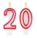 Geburtstag leuchtet die lokalisierte Nr. zwanzig durch stockfoto