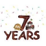 7. Geburtstag mit Spielzeug und Kuchen Stockfoto
