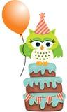 Geburtstag Owl Cake vektor abbildung