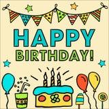 Geburtstag scherzt Vektorkarte mit bunten Ballonen, Kuchen, Hut, Cocktail, um Feiertagskarten und -einladung für a zu entwerfen lizenzfreie abbildung