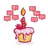 Geburtstag, soziale Netzwerke, kleiner Kuchen mit einer Kerze und Erdbeeren und Grußikonen von Freunden in den sozialen Netzwerke lizenzfreie abbildung