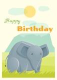 Geburtstag und Einladung kardieren Tierhintergrund mit Elefanten Lizenzfreies Stockfoto