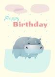 Geburtstag und Einladung kardieren Tierhintergrund mit Flusspferd Lizenzfreie Stockbilder