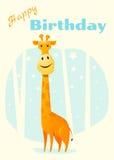 Geburtstag und Einladung kardieren Tierhintergrund mit Giraffe Stockbilder