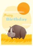 Geburtstag und Einladung kardieren Tierhintergrund mit Nashorn Lizenzfreies Stockbild