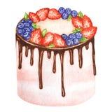 Geburtstag und Heiratsaquarellkuchen auf weißem Hintergrund Süße Handgezogene Wüste vektor abbildung
