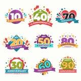 Geburtstag und Jahrestag lokalisierter Grußikonenvektor lizenzfreie abbildung