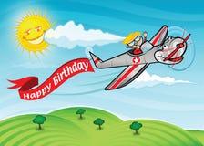 Geburtstagflugzeug Stockfotografie