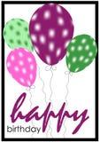 Geburtstagkarte mit Ballonen stock abbildung