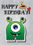 Geburtstagkarte mit netten Monstern Stockbilder
