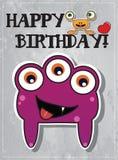 Geburtstagkarte mit netten Monstern Stockfotografie