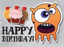 Geburtstagkarte mit netten Monstern Lizenzfreie Stockfotos