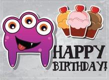 Geburtstagkarte mit netten Monstern Lizenzfreies Stockbild