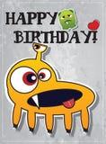 Geburtstagkarte mit netten Monstern Lizenzfreies Stockfoto