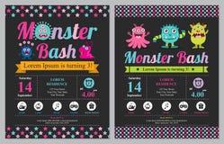 Geburtstagkarte mit netten Monstern vektor abbildung