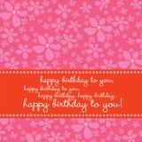 Geburtstagkarte mit Retro- Blumenhintergrund Stockbilder