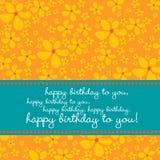 Geburtstagkarte mit Retro- Blumenhintergrund Stockfoto