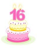 Geburtstagkuchen des Bonbons sechzehn Lizenzfreie Stockfotos