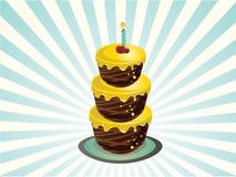 Geburtstagkuchen mit drei Reihen Stockfotografie