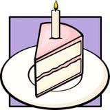 Geburtstagkuchenscheibe im Teller mit beleuchteter Kerze Stockfotografie