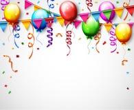Geburtstags-Ballon mit Konfetti-Hintergrund Stockfoto