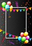 Geburtstags-Ballon mit Konfetti-Hintergrund Stockbilder