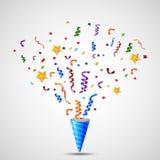 Geburtstags-Ballon mit Konfetti-Hintergrund Lizenzfreie Stockfotos