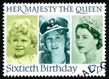 60. Geburtstags-BRITISCHE Briefmarke der Königin-Elizabeth II Stockbilder