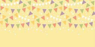 Geburtstags-Dekorationen, die horizontales nahtloses mit dem Kopfe stoßen Stockfotografie