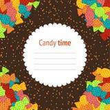 Geburtstags-Einladung Süße Süßigkeitsfahne Bunter Flieger Hand- lizenzfreie abbildung