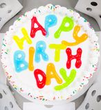 Geburtstags-Eiscreme-Kuchen Stockfoto