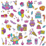 Geburtstags-Feier-Gestaltungselemente Stockfoto