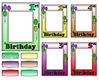 Geburtstags-Feld-Grenze stellte 1-5 ein Lizenzfreie Stockfotografie